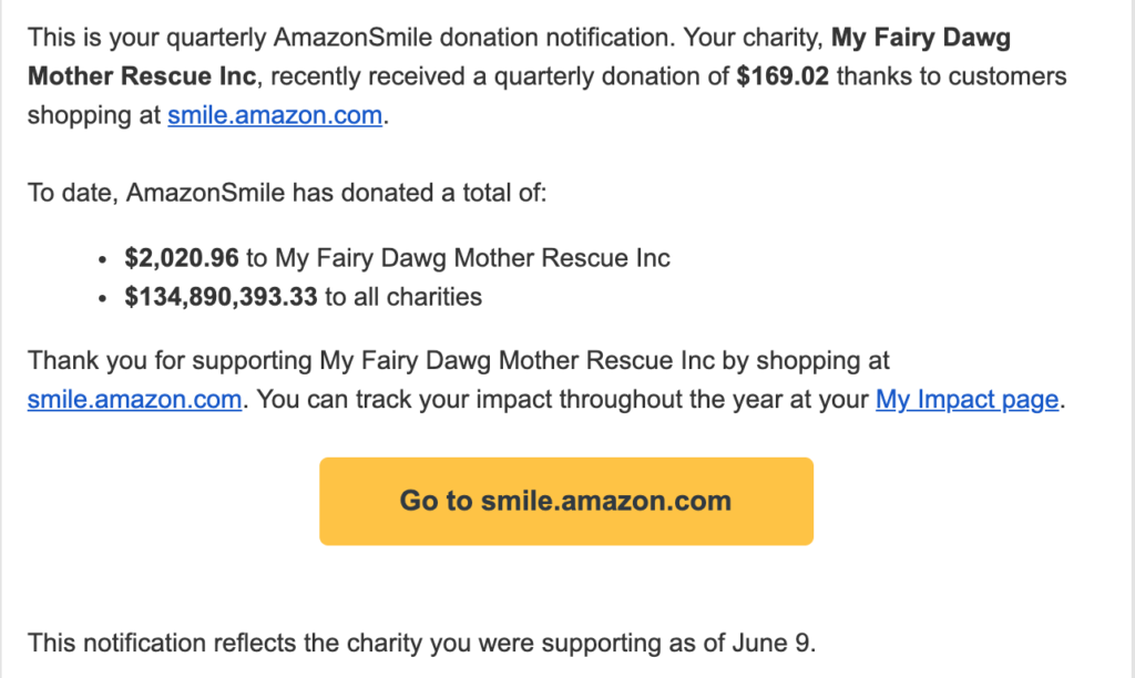 Donate to My Fairy Dawg Mother at Smile.Amazon.Com